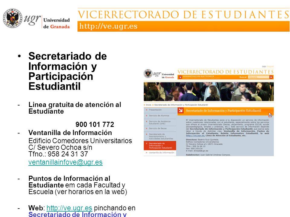 Secretariado de Información y Participación Estudiantil -Linea gratuita de atención al Estudiante 900 101 772 -Ventanilla de Información Edificio Come