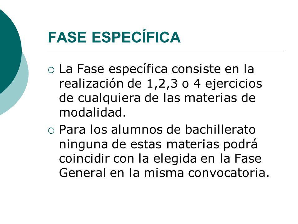 FASE ESPECÍFICA La Fase específica consiste en la realización de 1,2,3 o 4 ejercicios de cualquiera de las materias de modalidad. Para los alumnos de