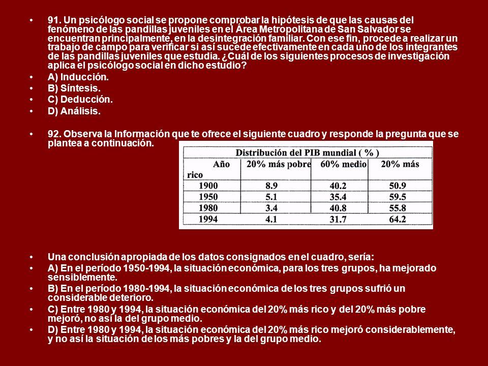 91. Un psicólogo social se propone comprobar la hipótesis de que las causas del fenómeno de las pandillas juveniles en el Área Metropolitana de San Sa