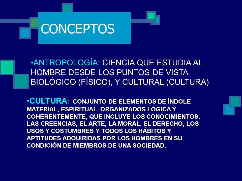 CONCEPTOS ANTROPOLOGÍA: CIENCIA QUE ESTUDIA AL HOMBRE DESDE LOS PUNTOS DE VISTA BIOLÓGICO (FÍSICO), Y CULTURAL (CULTURA) CONJUNTO DE ELEMENTOS DE ÍNDO