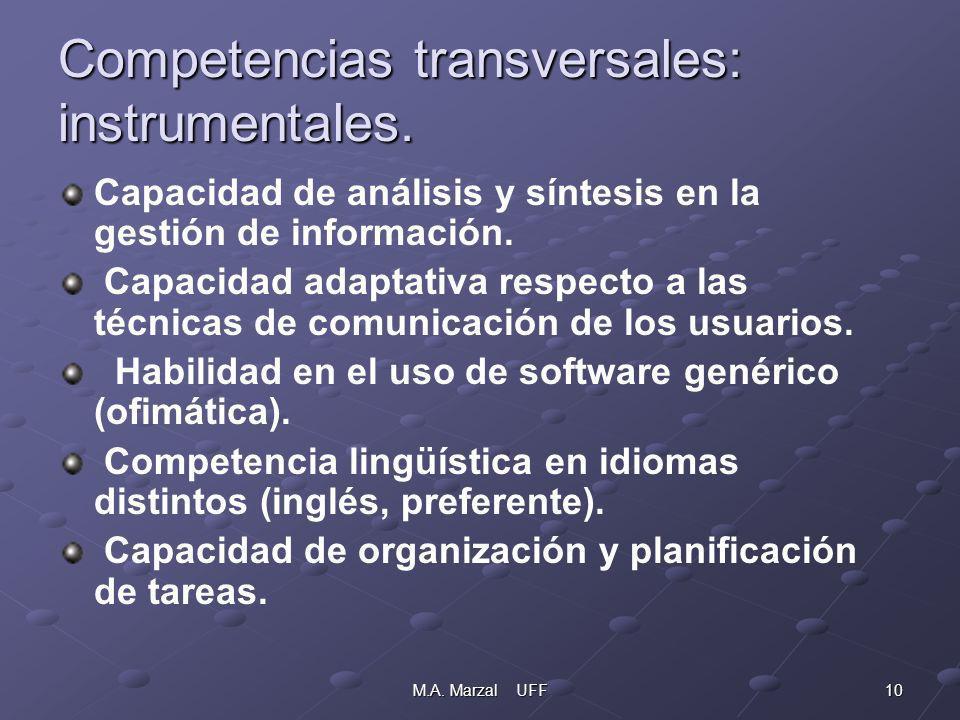 10M.A. Marzal UFF Competencias transversales: instrumentales. Capacidad de análisis y síntesis en la gestión de información. Capacidad adaptativa resp