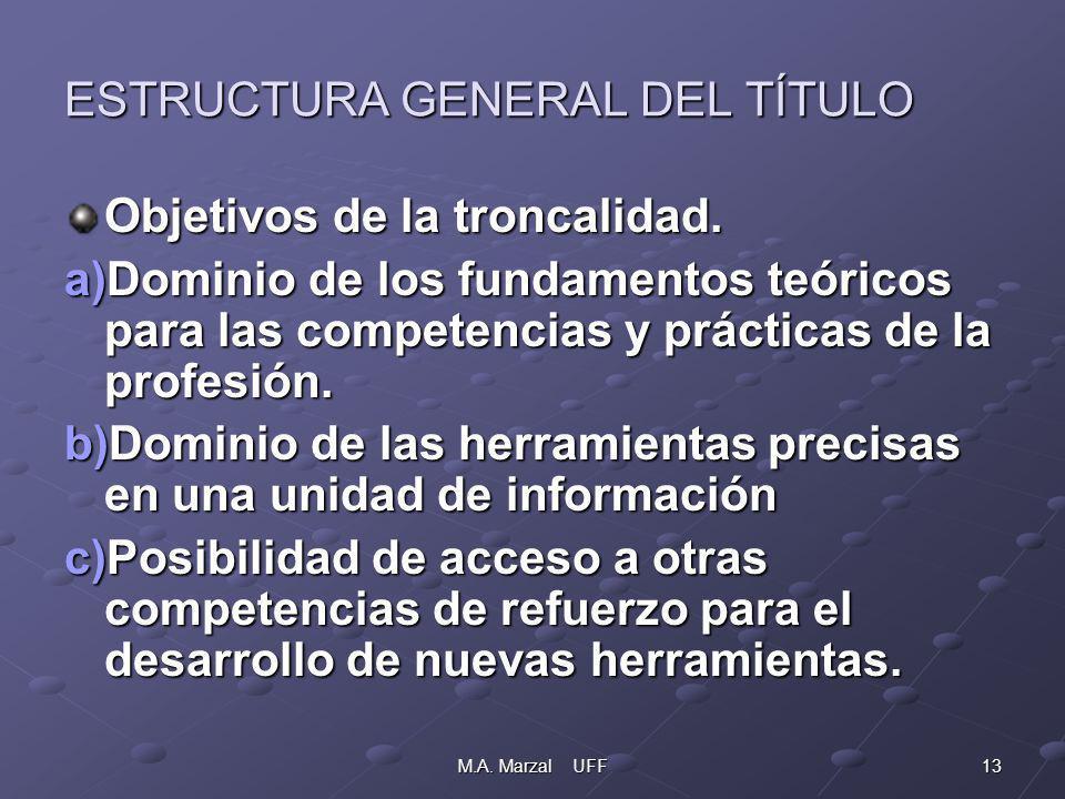 13M.A. Marzal UFF ESTRUCTURA GENERAL DEL TÍTULO Objetivos de la troncalidad.