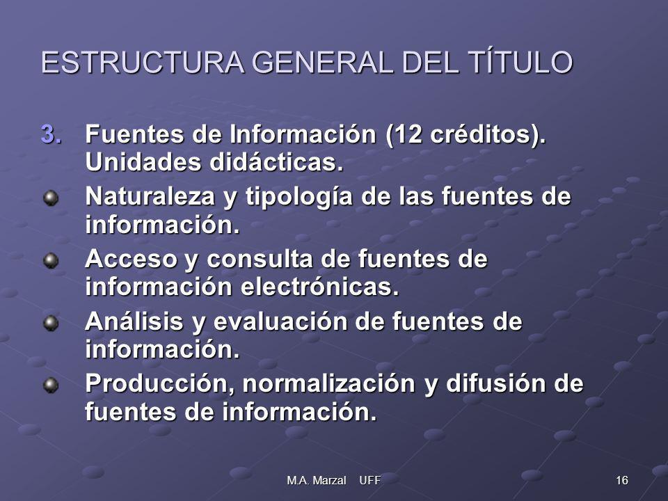 16M.A. Marzal UFF ESTRUCTURA GENERAL DEL TÍTULO 3.Fuentes de Información (12 créditos).