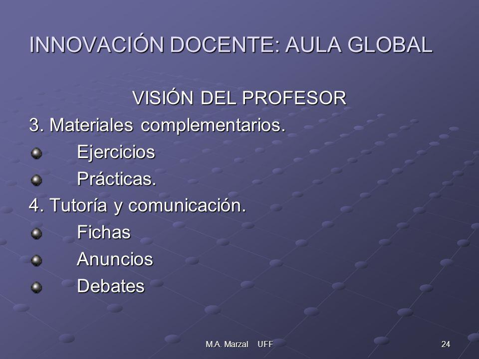 24M.A. Marzal UFF INNOVACIÓN DOCENTE: AULA GLOBAL VISIÓN DEL PROFESOR 3.