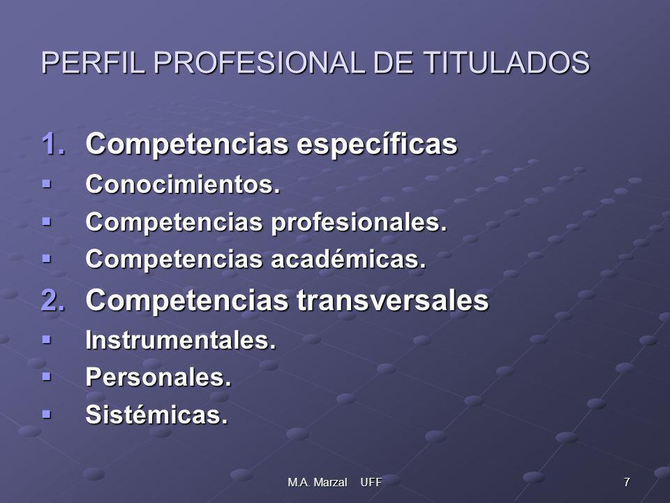 7M.A. Marzal UFF PERFIL PROFESIONAL DE TITULADOS 1.Competencias específicas Conocimientos.