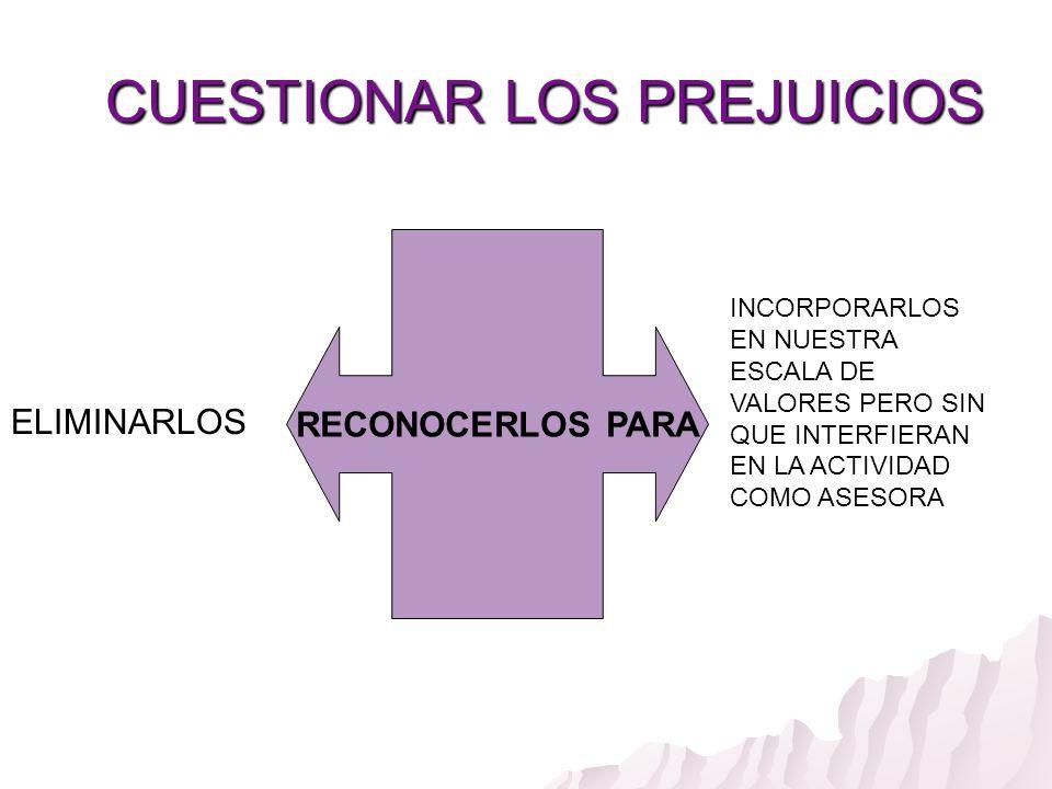 CUESTIONAR LOS PREJUICIOS CUESTIONAR LOS PREJUICIOS RECONOCERLOS PARA ELIMINARLOS INCORPORARLOS EN NUESTRA ESCALA DE VALORES PERO SIN QUE INTERFIERAN