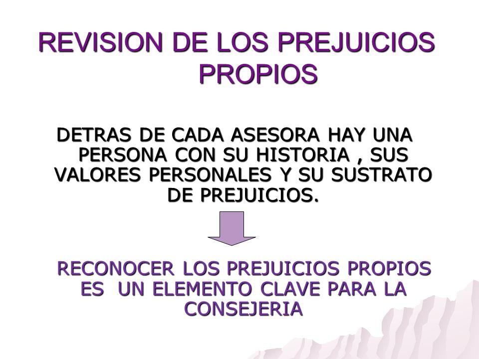 REVISION DE LOS PREJUICIOS PROPIOS DETRAS DE CADA ASESORA HAY UNA PERSONA CON SU HISTORIA, SUS VALORES PERSONALES Y SU SUSTRATO DE PREJUICIOS. RECONOC