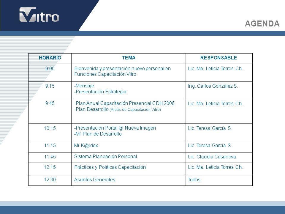 AGENDA HORARIOTEMARESPONSABLE 9:00Bienvenida y presentación nuevo personal en Funciones Capacitación Vitro Lic. Ma. Leticia Torres Ch. 9:15-Mensaje -P