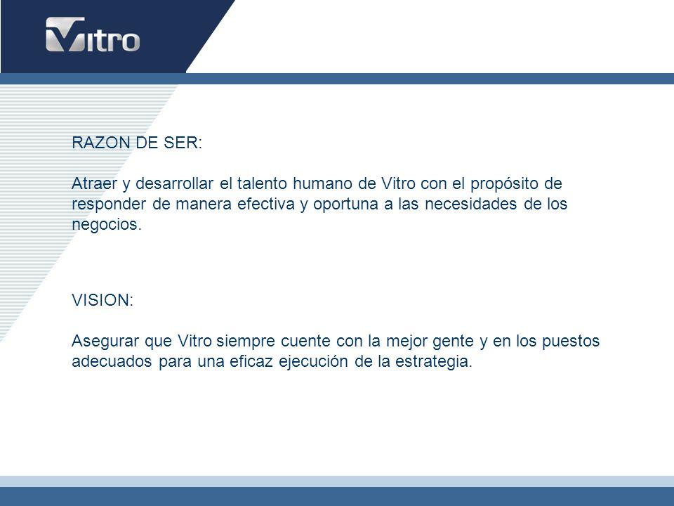 RAZON DE SER: Atraer y desarrollar el talento humano de Vitro con el propósito de responder de manera efectiva y oportuna a las necesidades de los neg