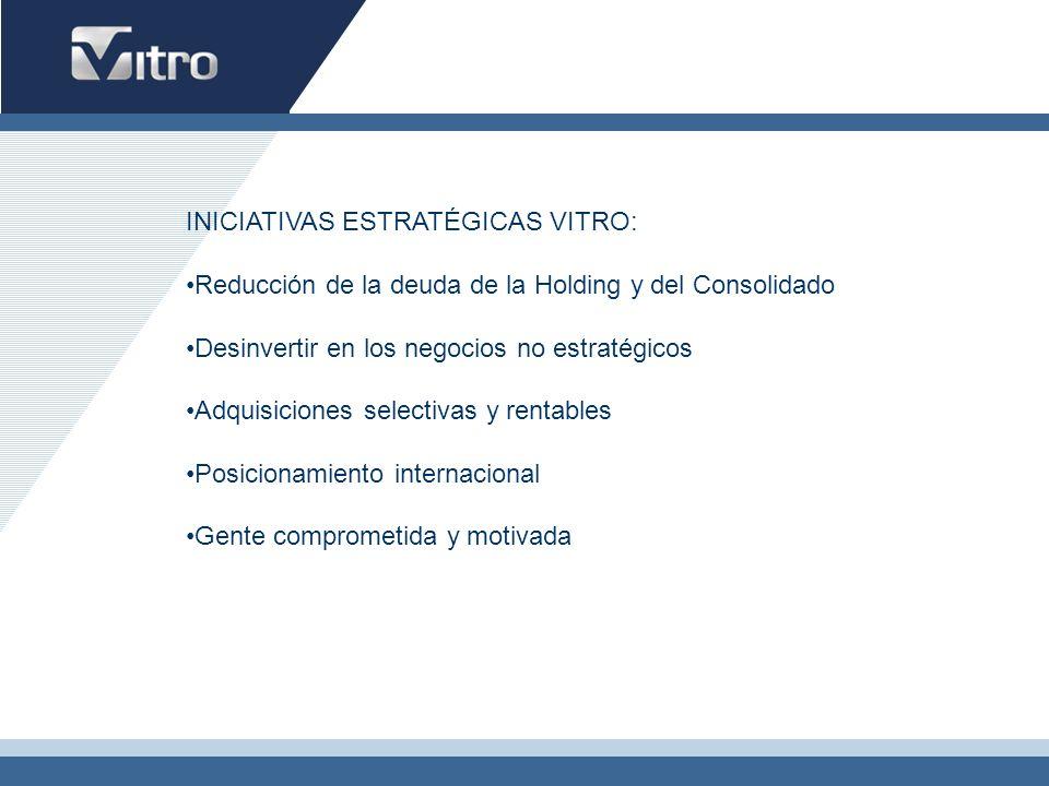 INICIATIVAS ESTRATÉGICAS VITRO: Reducción de la deuda de la Holding y del Consolidado Desinvertir en los negocios no estratégicos Adquisiciones select