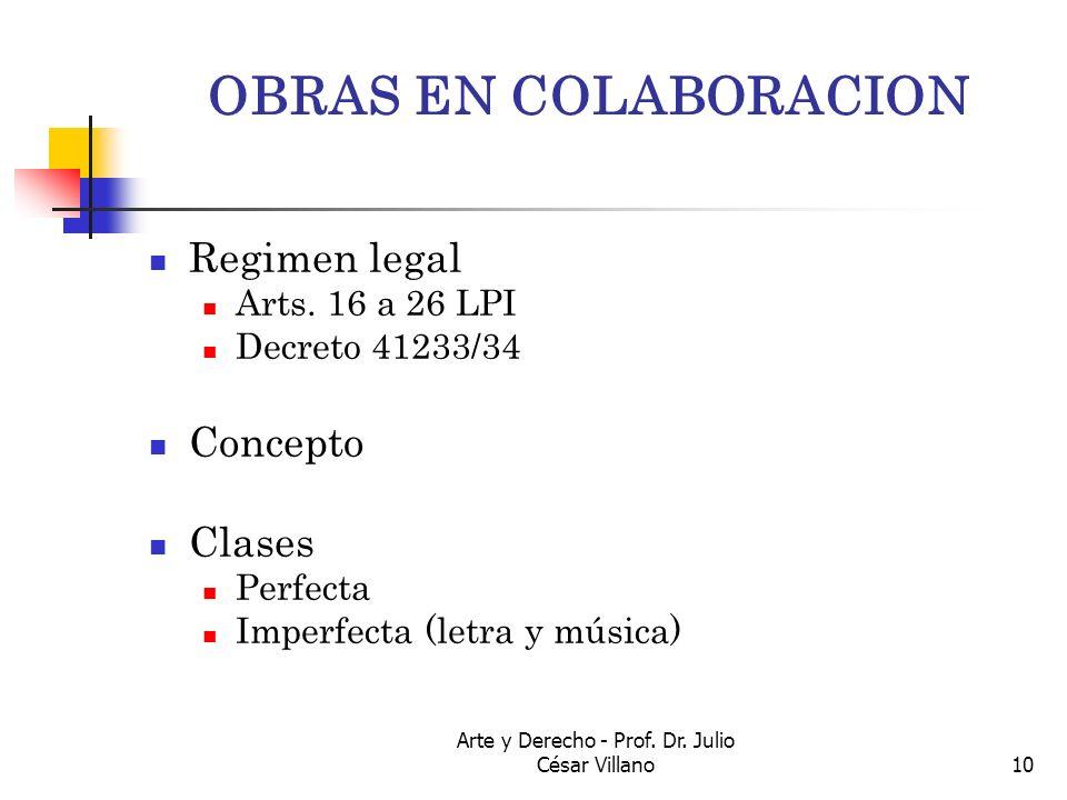 Arte y Derecho - Prof. Dr. Julio César Villano10 OBRAS EN COLABORACION Regimen legal Arts. 16 a 26 LPI Decreto 41233/34 Concepto Clases Perfecta Imper