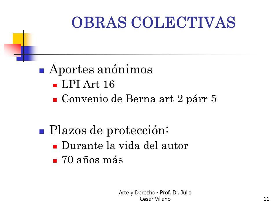 Arte y Derecho - Prof. Dr. Julio César Villano11 OBRAS COLECTIVAS Aportes anónimos LPI Art 16 Convenio de Berna art 2 párr 5 Plazos de protección: Dur