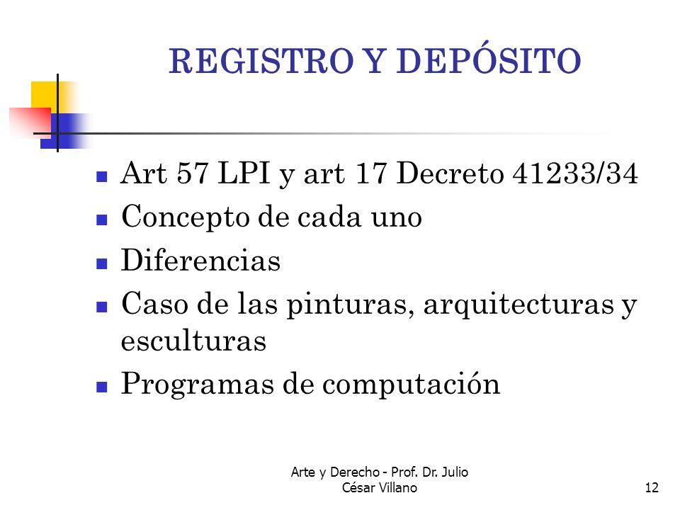 Arte y Derecho - Prof. Dr. Julio César Villano12 REGISTRO Y DEPÓSITO Art 57 LPI y art 17 Decreto 41233/34 Concepto de cada uno Diferencias Caso de las