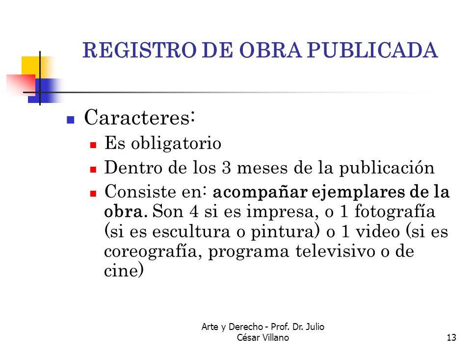 Arte y Derecho - Prof. Dr. Julio César Villano13 REGISTRO DE OBRA PUBLICADA Caracteres: Es obligatorio Dentro de los 3 meses de la publicación Consist