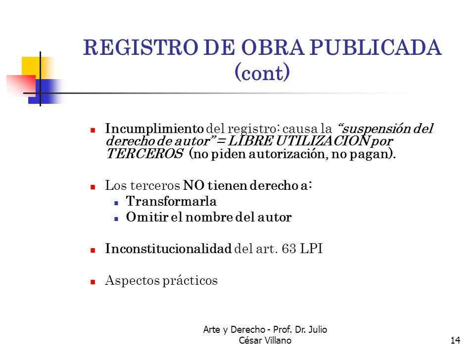 Arte y Derecho - Prof. Dr. Julio César Villano14 REGISTRO DE OBRA PUBLICADA (cont) Incumplimiento del registro: causa la suspensión del derecho de aut