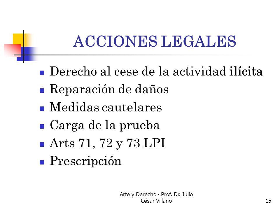 Arte y Derecho - Prof. Dr. Julio César Villano15 ACCIONES LEGALES Derecho al cese de la actividad ilícita Reparación de daños Medidas cautelares Carga