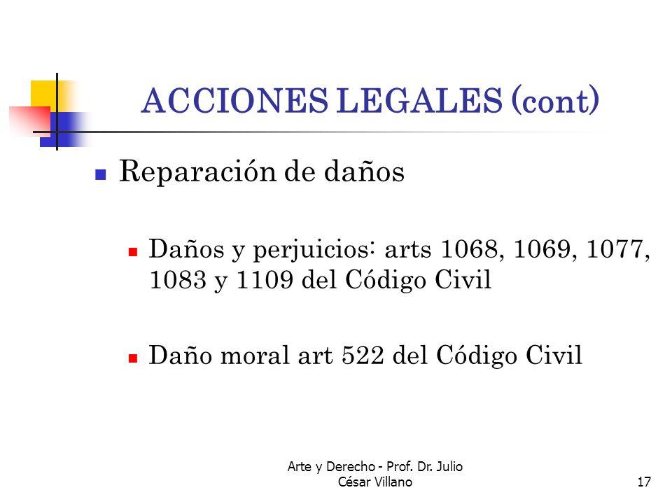 Arte y Derecho - Prof. Dr. Julio César Villano17 ACCIONES LEGALES (cont) Reparación de daños Daños y perjuicios: arts 1068, 1069, 1077, 1083 y 1109 de