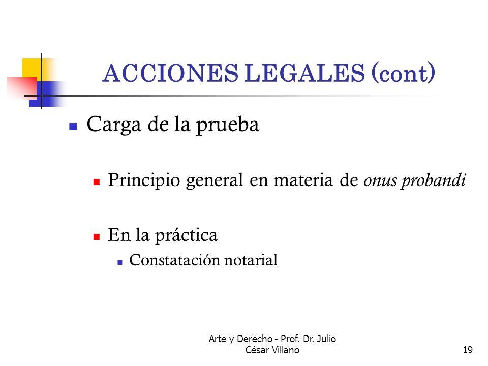 Arte y Derecho - Prof. Dr. Julio César Villano19 ACCIONES LEGALES (cont) Carga de la prueba Principio general en materia de onus probandi En la prácti