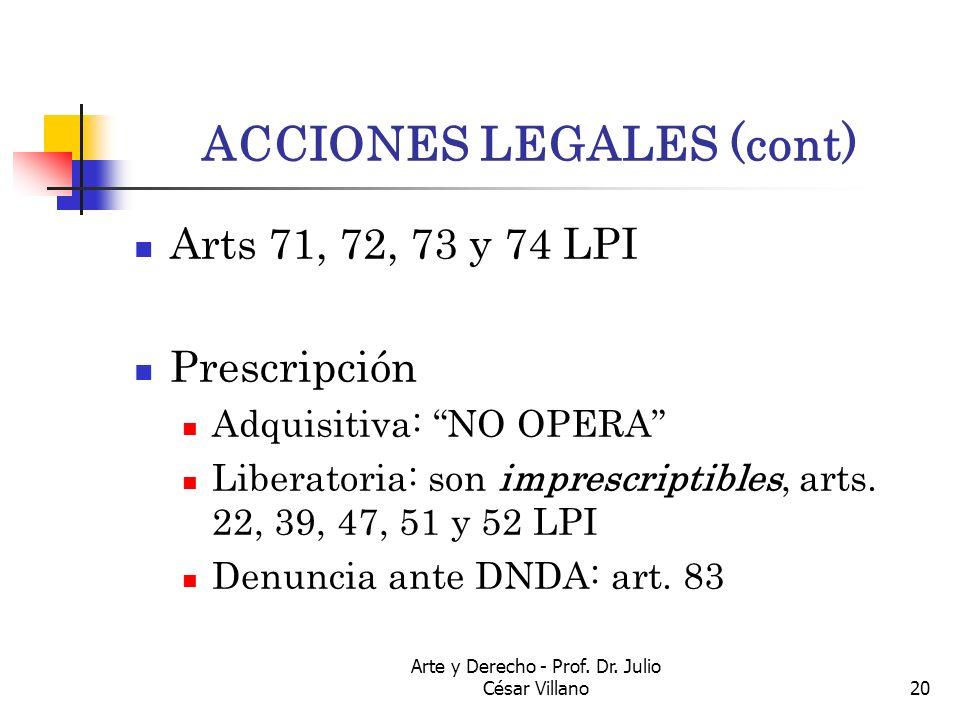 Arte y Derecho - Prof. Dr. Julio César Villano20 ACCIONES LEGALES (cont) Arts 71, 72, 73 y 74 LPI Prescripción Adquisitiva: NO OPERA Liberatoria: son