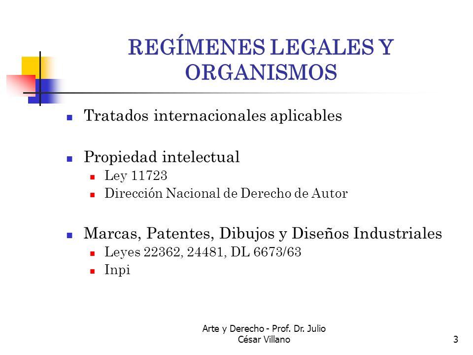 Arte y Derecho - Prof. Dr. Julio César Villano3 REGÍMENES LEGALES Y ORGANISMOS Tratados internacionales aplicables Propiedad intelectual Ley 11723 Dir