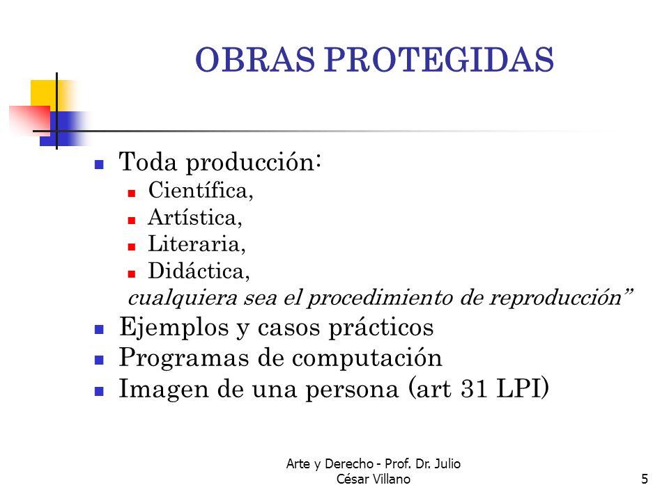 Arte y Derecho - Prof. Dr. Julio César Villano5 OBRAS PROTEGIDAS Toda producción: Científica, Artística, Literaria, Didáctica, cualquiera sea el proce