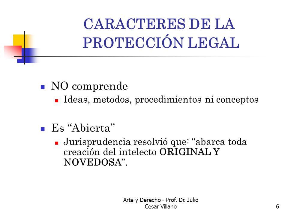 Arte y Derecho - Prof. Dr. Julio César Villano6 CARACTERES DE LA PROTECCIÓN LEGAL NO comprende Ideas, metodos, procedimientos ni conceptos Es Abierta