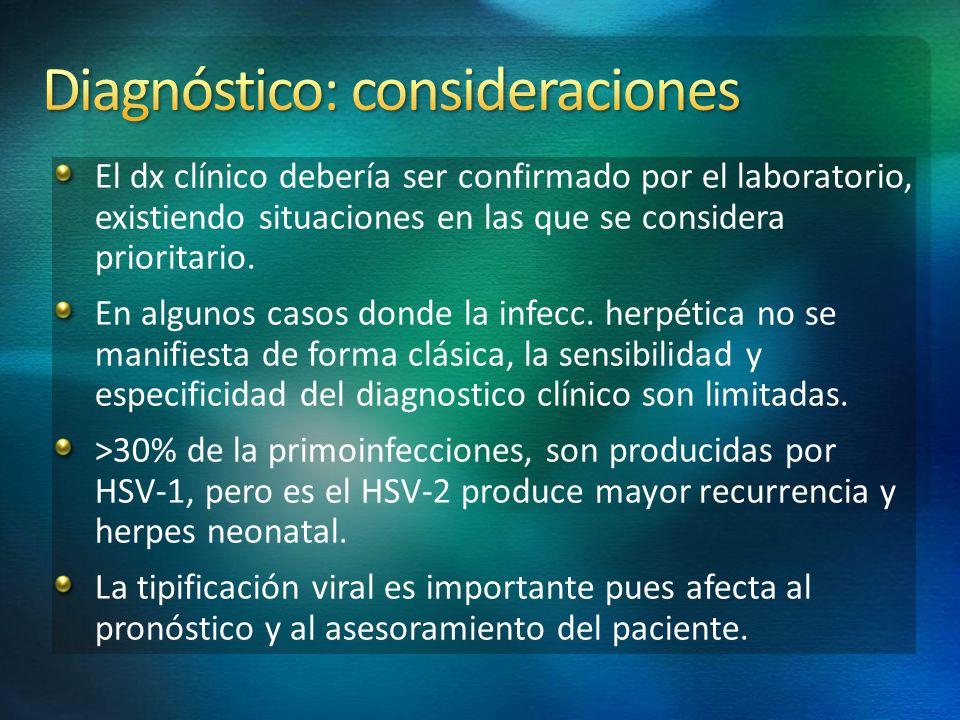 El dx clínico debería ser confirmado por el laboratorio, existiendo situaciones en las que se considera prioritario. En algunos casos donde la infecc.