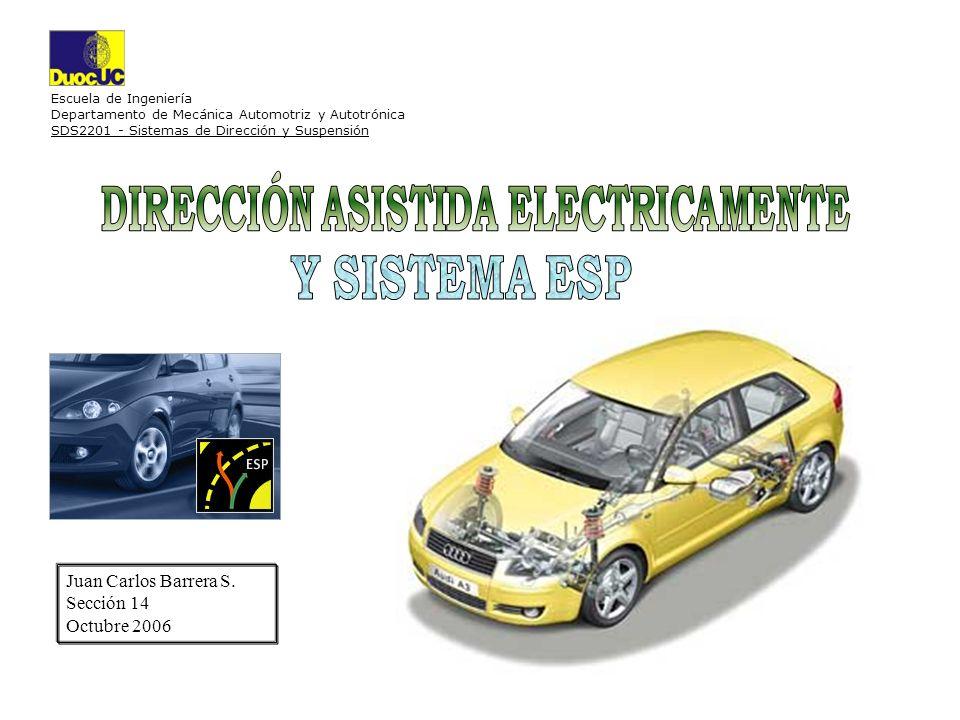 Escuela de Ingeniería Departamento de Mecánica Automotriz y Autotrónica SDS2201 - Sistemas de Dirección y Suspensión Juan Carlos Barrera S. Sección 14