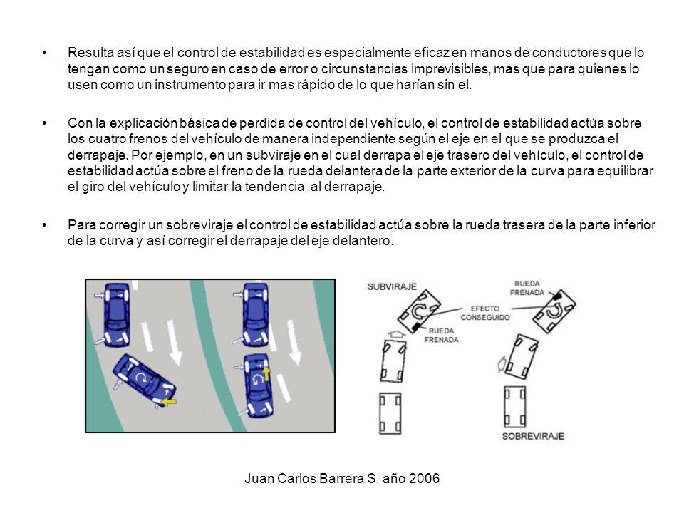 Juan Carlos Barrera S. año 2006 Resulta así que el control de estabilidad es especialmente eficaz en manos de conductores que lo tengan como un seguro