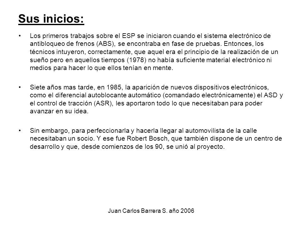 Juan Carlos Barrera S. año 2006 Sus inicios: Los primeros trabajos sobre el ESP se iniciaron cuando el sistema electrónico de antibloqueo de frenos (A