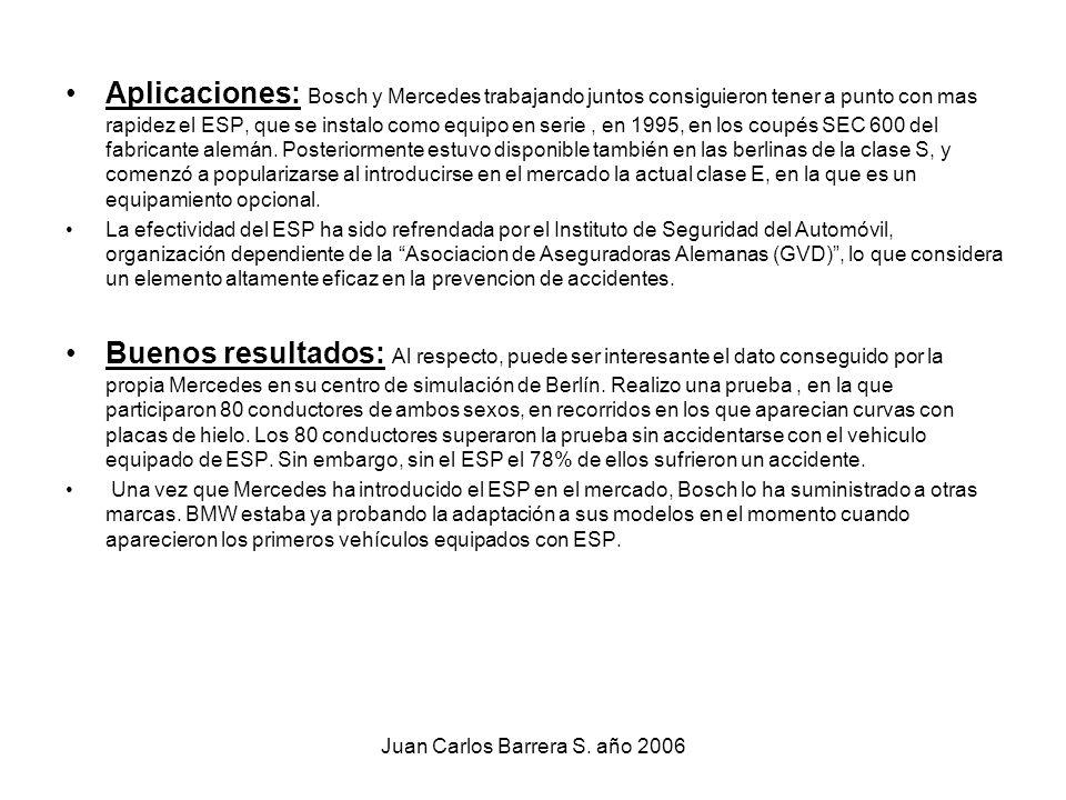 Juan Carlos Barrera S. año 2006 Aplicaciones: Bosch y Mercedes trabajando juntos consiguieron tener a punto con mas rapidez el ESP, que se instalo com