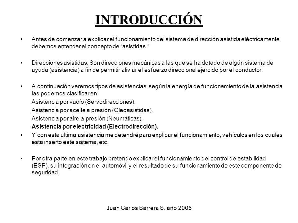 Juan Carlos Barrera S. año 2006 INTRODUCCIÓN Antes de comenzar a explicar el funcionamiento del sistema de dirección asistida eléctricamente debemos e
