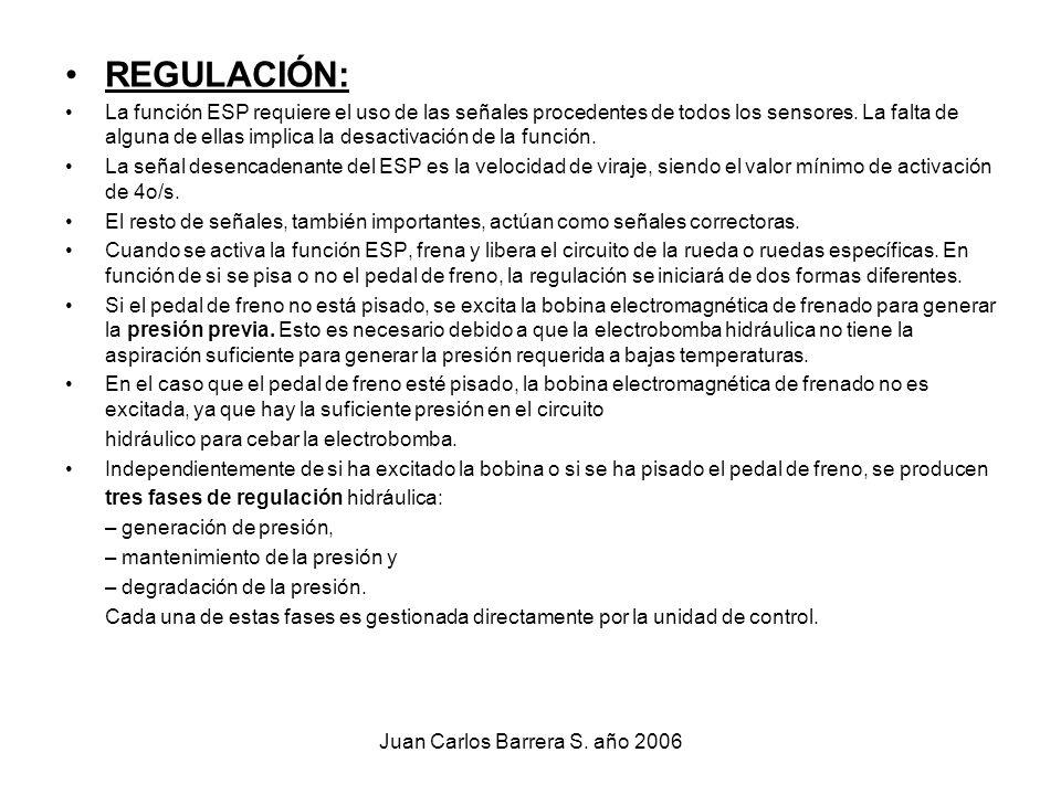 Juan Carlos Barrera S. año 2006 REGULACIÓN: La función ESP requiere el uso de las señales procedentes de todos los sensores. La falta de alguna de ell