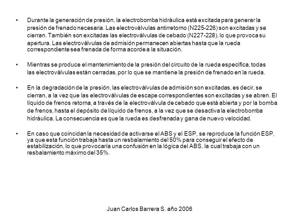 Juan Carlos Barrera S. año 2006 Durante la generación de presión, la electrobomba hidráulica está excitada para generar la presión de frenado necesari