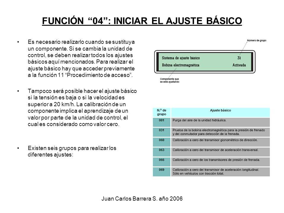 Juan Carlos Barrera S. año 2006 FUNCIÓN 04: INICIAR EL AJUSTE BÁSICO Es necesario realizarlo cuando se sustituya un componente. Si se cambia la unidad