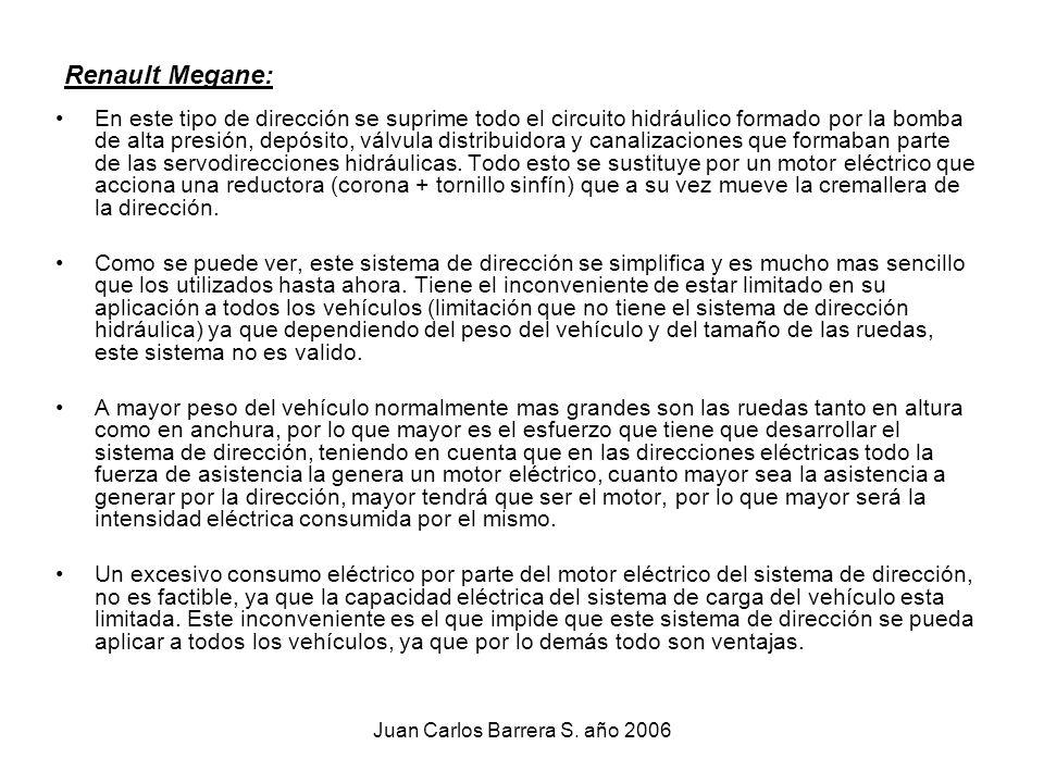Juan Carlos Barrera S. año 2006 Renault Megane: En este tipo de dirección se suprime todo el circuito hidráulico formado por la bomba de alta presión,