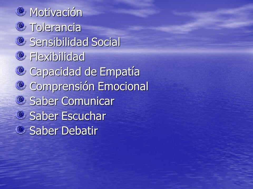 Motivación Motivación Tolerancia Tolerancia Sensibilidad Social Sensibilidad Social Flexibilidad Flexibilidad Capacidad de Empatía Capacidad de Empatí