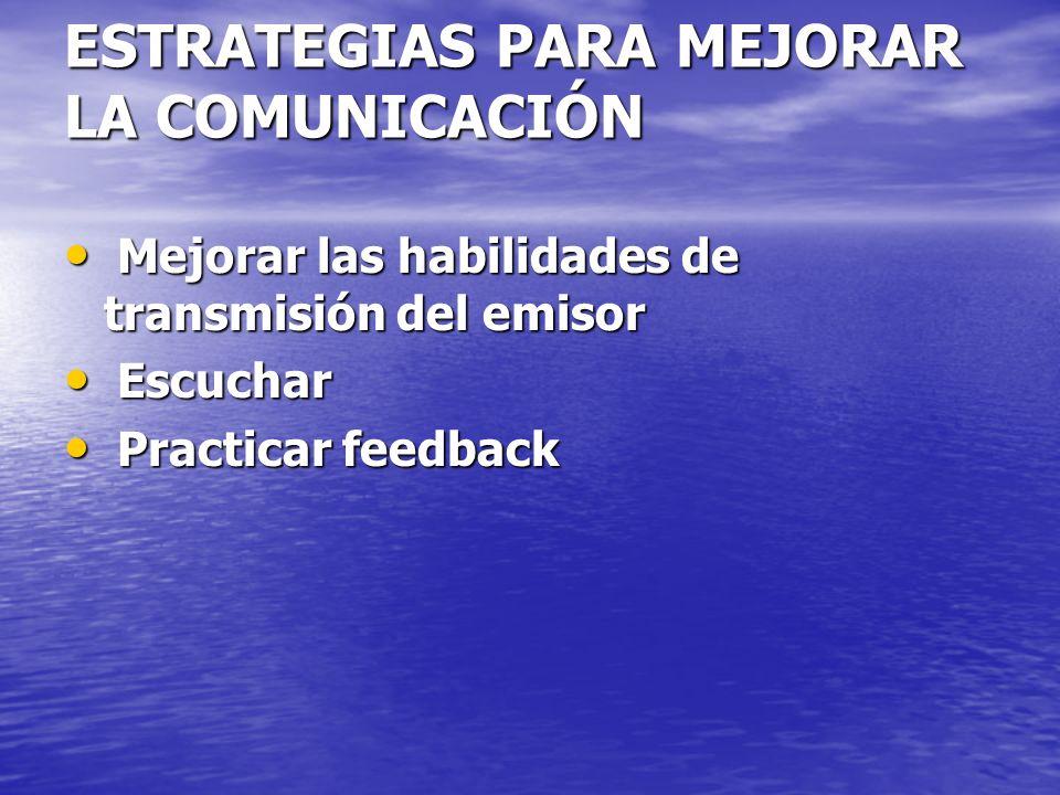 ESTRATEGIAS PARA MEJORAR LA COMUNICACIÓN Mejorar las habilidades de transmisión del emisor Mejorar las habilidades de transmisión del emisor Escuchar