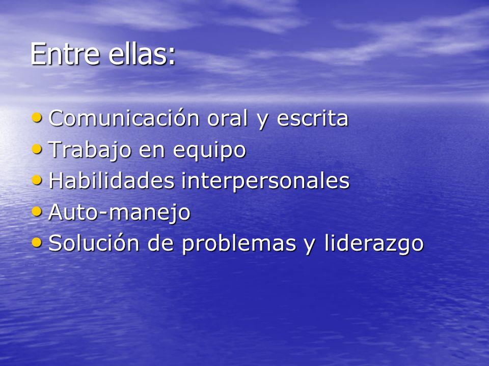Entre ellas: Comunicación oral y escrita Comunicación oral y escrita Trabajo en equipo Trabajo en equipo Habilidades interpersonales Habilidades inter