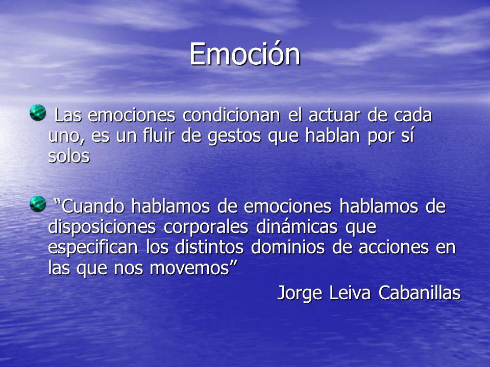 Emoción Las emociones condicionan el actuar de cada uno, es un fluir de gestos que hablan por sí solos Las emociones condicionan el actuar de cada uno