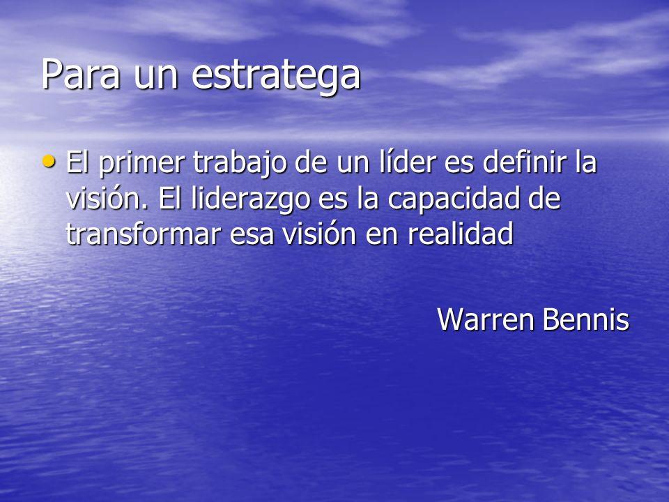 Para un estratega El primer trabajo de un líder es definir la visión. El liderazgo es la capacidad de transformar esa visión en realidad El primer tra