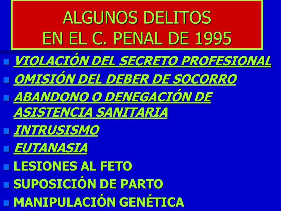 ALGUNOS DELITOS EN EL C. PENAL DE 1995 n VIOLACIÓN DEL SECRETO PROFESIONAL n OMISIÓN DEL DEBER DE SOCORRO n ABANDONO O DENEGACIÓN DE ASISTENCIA SANITA