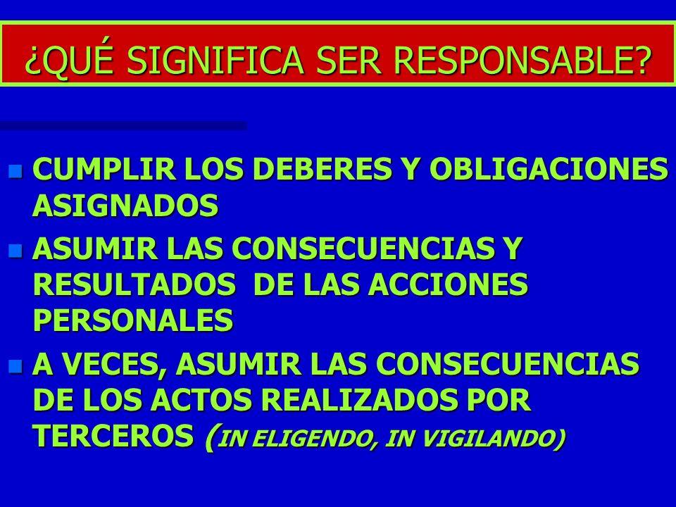 ¿QUÉ SIGNIFICA SER RESPONSABLE? n CUMPLIR LOS DEBERES Y OBLIGACIONES ASIGNADOS n ASUMIR LAS CONSECUENCIAS Y RESULTADOS DE LAS ACCIONES PERSONALES n A