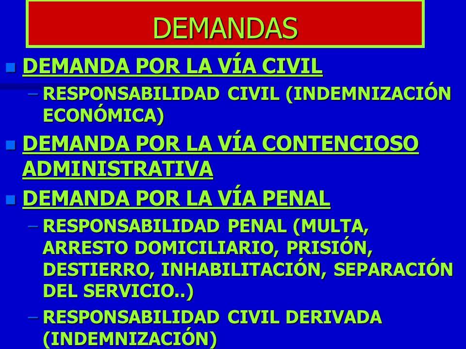 DEMANDAS n DEMANDA POR LA VÍA CIVIL –RESPONSABILIDAD CIVIL (INDEMNIZACIÓN ECONÓMICA) n DEMANDA POR LA VÍA CONTENCIOSO ADMINISTRATIVA n DEMANDA POR LA