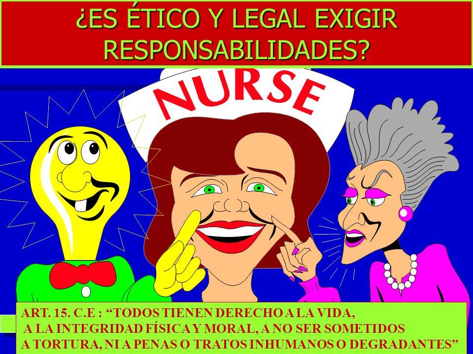 ¿ES ÉTICO Y LEGAL EXIGIR RESPONSABILIDADES? ART. 15. C.E : TODOS TIENEN DERECHO A LA VIDA, A LA INTEGRIDAD FÍSICA Y MORAL, A NO SER SOMETIDOS A TORTUR