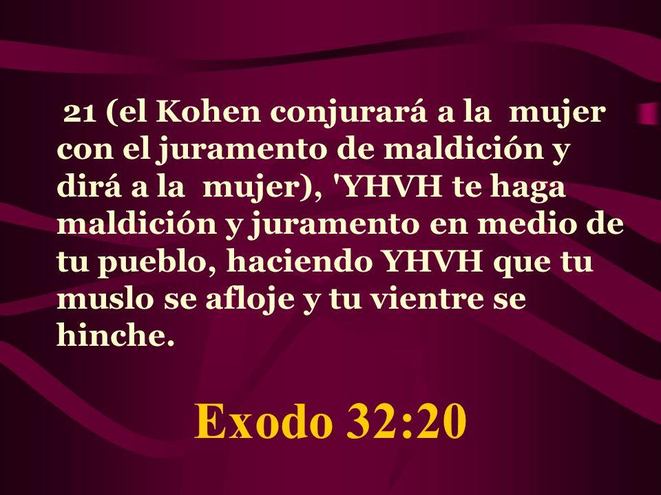 21 (el Kohen conjurará a la mujer con el juramento de maldición y dirá a la mujer), 'YHVH te haga maldición y juramento en medio de tu pueblo, haciend