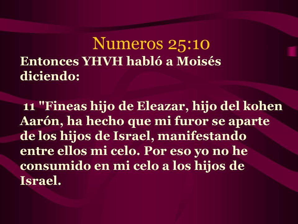 Numeros 25:10 Entonces YHVH habló a Moisés diciendo: 11