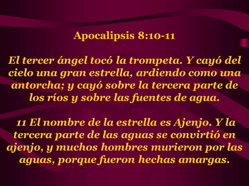 Apocalipsis 8:10-11 El tercer ángel tocó la trompeta. Y cayó del cielo una gran estrella, ardiendo como una antorcha; y cayó sobre la tercera parte de