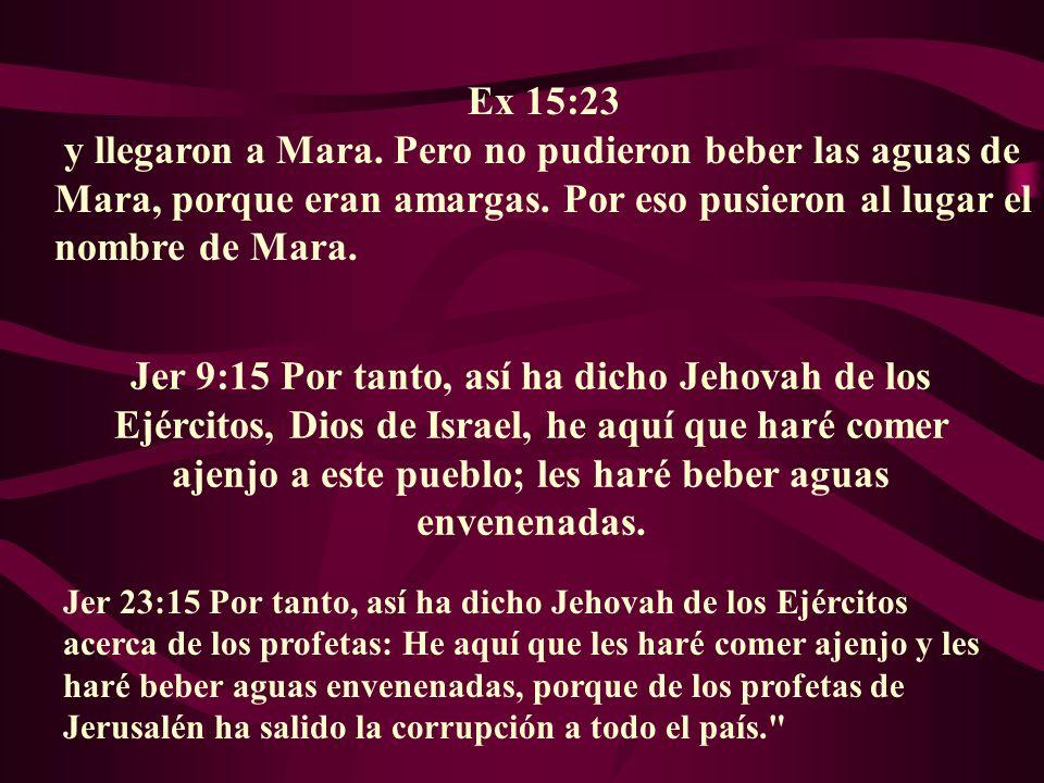 Ex 15:23 y llegaron a Mara. Pero no pudieron beber las aguas de Mara, porque eran amargas. Por eso pusieron al lugar el nombre de Mara. Jer 9:15 Por t