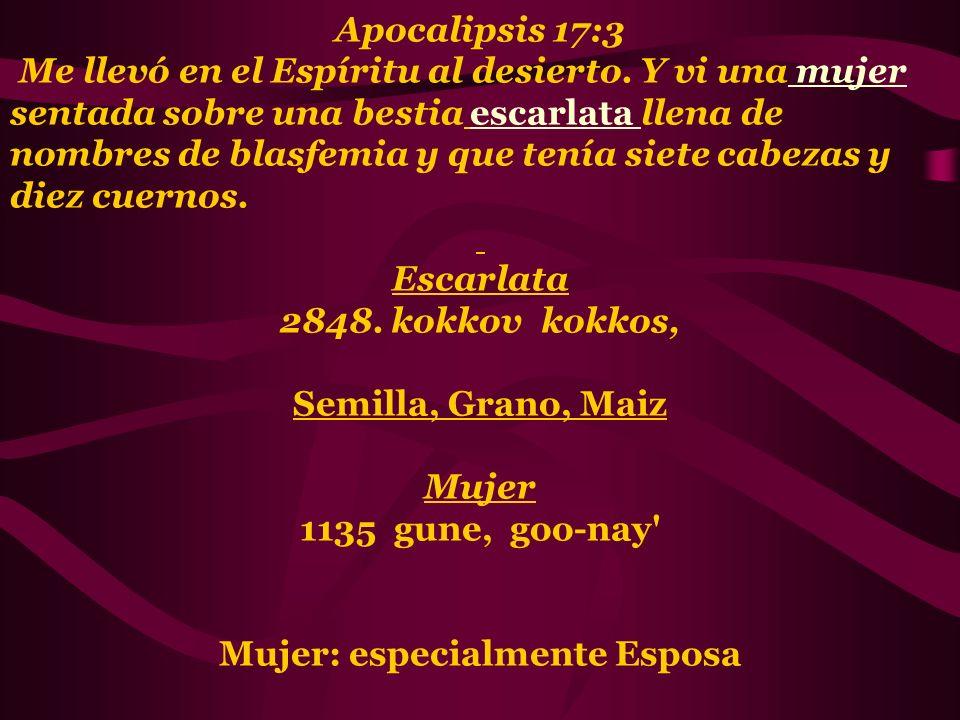 Apocalipsis 17:3 Me llevó en el Espíritu al desierto. Y vi una mujer sentada sobre una bestia escarlata llena de nombres de blasfemia y que tenía siet